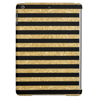Elegant Gold Glitter and Black Stripe Pattern iPad Air Cover