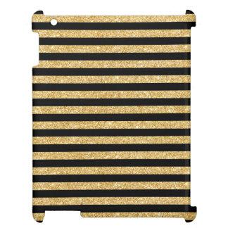 Elegant Gold Glitter and Black Stripe Pattern iPad Case