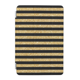 Elegant Gold Glitter and Black Stripe Pattern iPad Mini Cover