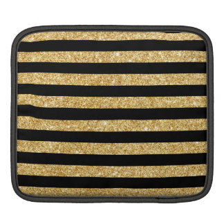 Elegant Gold Glitter and Black Stripe Pattern iPad Sleeve