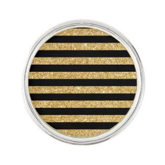 Elegant Gold Glitter and Black Stripe Pattern Lapel Pin