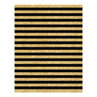 Elegant Gold Glitter and Black Stripe Pattern Letterhead