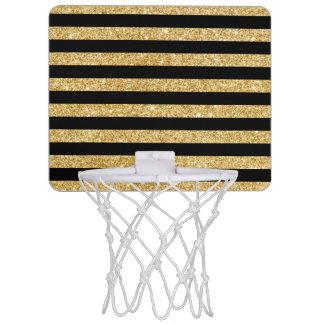 Elegant Gold Glitter and Black Stripe Pattern Mini Basketball Hoop
