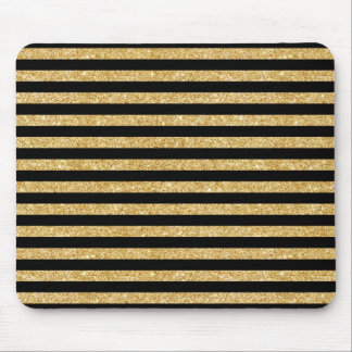 Elegant Gold Glitter and Black Stripe Pattern Mouse Pad