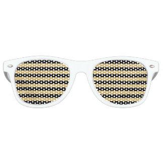 Elegant Gold Glitter and Black Stripe Pattern Party Sunglasses