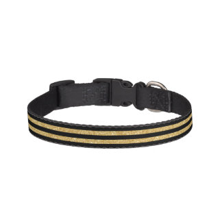 Elegant Gold Glitter and Black Stripe Pattern Pet Collar