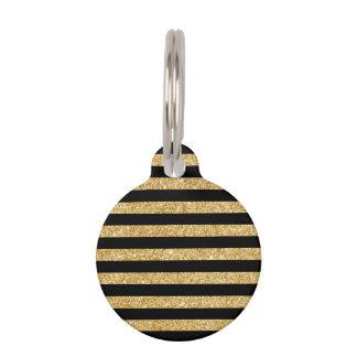 Elegant Gold Glitter and Black Stripe Pattern Pet Tag