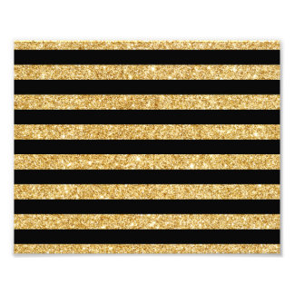 Elegant Gold Glitter and Black Stripe Pattern Photograph