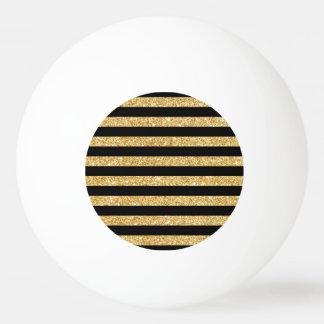 Elegant Gold Glitter and Black Stripe Pattern Ping Pong Ball