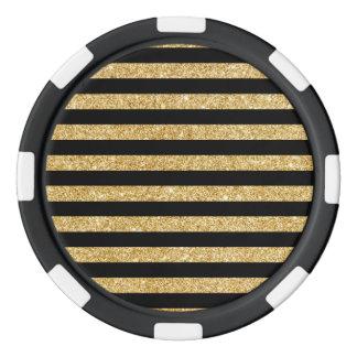 Elegant Gold Glitter and Black Stripe Pattern Poker Chips