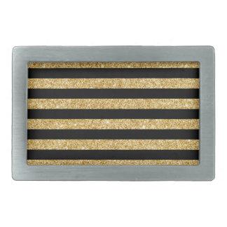 Elegant Gold Glitter and Black Stripe Pattern Rectangular Belt Buckles