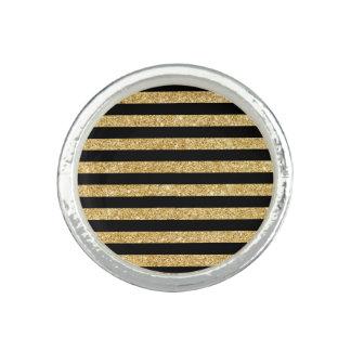Elegant Gold Glitter and Black Stripe Pattern Ring