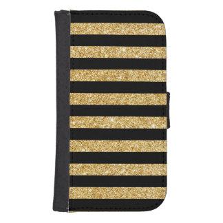 Elegant Gold Glitter and Black Stripe Pattern Samsung S4 Wallet Case