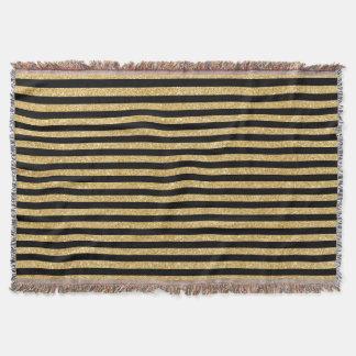 Elegant Gold Glitter and Black Stripe Pattern Throw Blanket