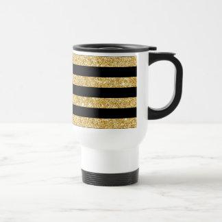 Elegant Gold Glitter and Black Stripe Pattern Travel Mug