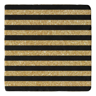 Elegant Gold Glitter and Black Stripe Pattern Trivet