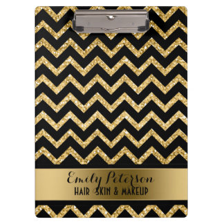 Elegant Gold Glitter Black Chevron Gold Accents Clipboard