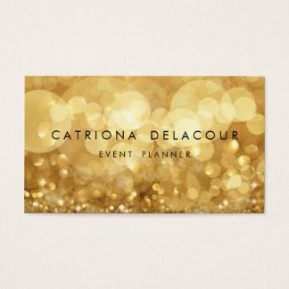 Elegant Gold Glitter Bokeh Business Card