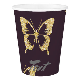 elegant gold glitter butterfly paper cup