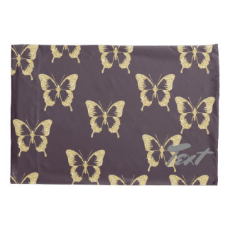 elegant gold glitter butterfly pillowcase