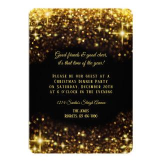 Elegant Gold Glitter Christmas Dinner Party Card