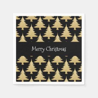 elegant gold glitter Christmas tree pattern black Disposable Napkins