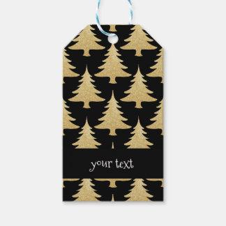 elegant gold glitter Christmas tree pattern black Gift Tags