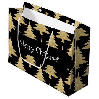 elegant gold glitter Christmas tree pattern black Large Gift Bag