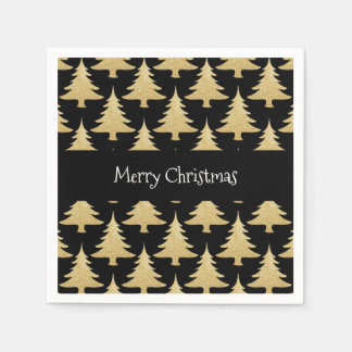 elegant gold glitter Christmas tree pattern black Paper Napkin
