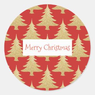 elegant gold glitter Christmas tree pattern red Classic Round Sticker