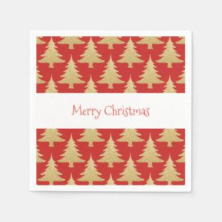 elegant gold glitter Christmas tree pattern red Disposable Napkin