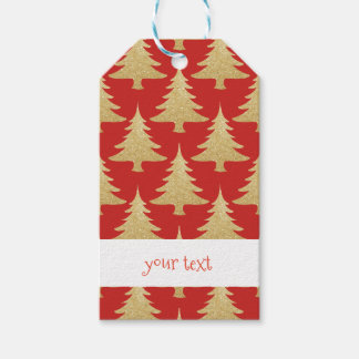 elegant gold glitter Christmas tree pattern red Gift Tags