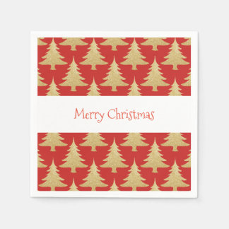 elegant gold glitter Christmas tree pattern red Napkin