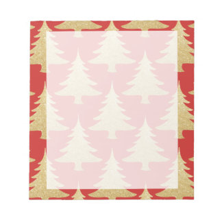elegant gold glitter Christmas tree pattern red Notepad