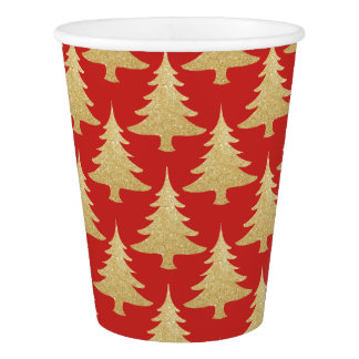 elegant gold glitter Christmas tree pattern red Paper Cup