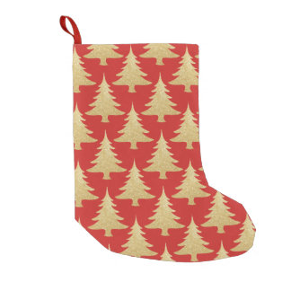 elegant gold glitter Christmas tree pattern red Small Christmas Stocking