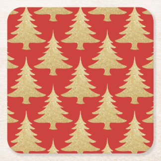 elegant gold glitter Christmas tree pattern red Square Paper Coaster