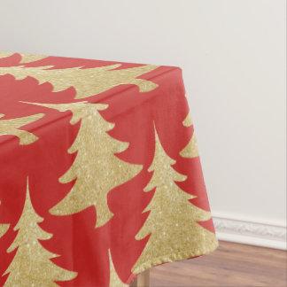 elegant gold glitter Christmas tree pattern red Tablecloth