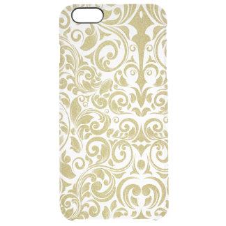 Elegant Gold Glitter Damask Floral Transparent Clear iPhone 6 Plus Case