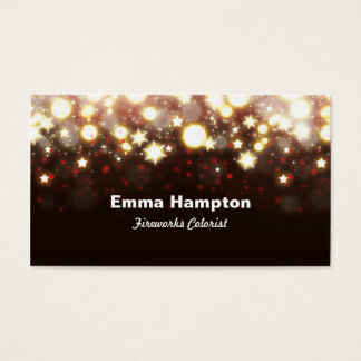 Elegant gold glitter fireworks lights and stars business card