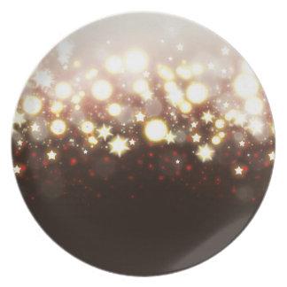 Elegant gold glitter fireworks lights and stars plate
