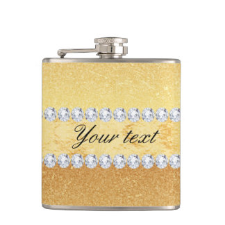 Elegant Gold Glitter Foil and Diamonds Flasks
