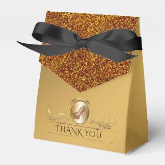 Elegant Gold Glitter High Heel Shoes Favor Box