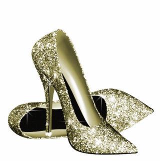 Elegant Gold Glitter High Heel Shoes Acrylic Cut Out