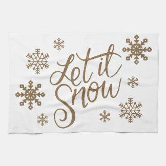 Elegant gold glitter let it snow text snowflakes kitchen towel