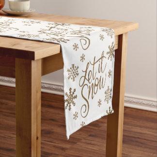 Elegant gold glitter let it snow text snowflakes short table runner
