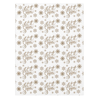 Elegant gold glitter let it snow text snowflakes tablecloth