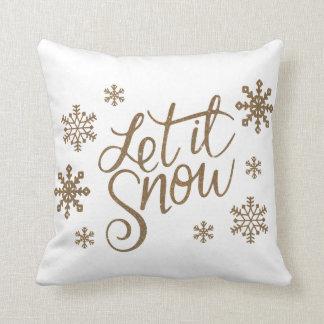 Elegant gold glitter let it snow text snowflakes throw pillow