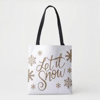 Elegant gold glitter let it snow text snowflakes tote bag