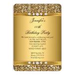 "Elegant Gold Glitter Look Diamond Birthday Party 5"" X 7"" Invitation Card"